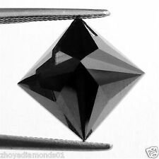 0.50 ct NATURAL LOOSE DIAMOND JET BLACK OPAQUE PRINCESS BRILLIANT CUT JEWEL USE