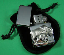 BUFFALO and CALF Petrol Lighter in Pouch Free UK Post RAOB, Animal, Lodge