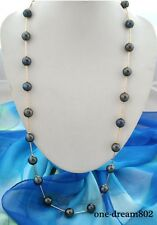 "Rare 36"" 15mm black round Edison Reborn pearl necklace"