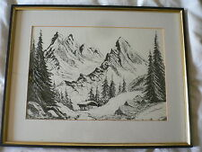 Pen and Ink Drawing. Cottage with Mountains. Signed Mike.