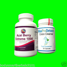 60 Acai Berry Extreme 1000 And 30 Max Pro Colon Cleanse Detox Combo Fat Control
