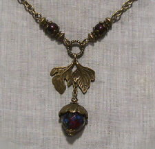 BRONZE ACORN OAK LEAF GARNET RED GLASS PICASSO NECKLACE EDWARDIAN VICTORIAN