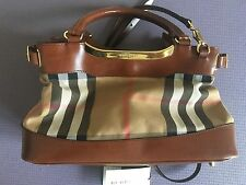 Burberry Brown Satchel Handbag Tote Plaid House Check and Leather