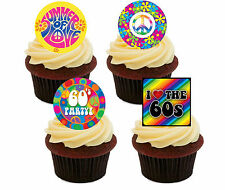 60s Party Edible Cupcake Toppers, Stand-up Fairy Cake Decorations, Hippy Peace