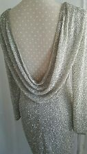 Vtg 1920,s style Gatsby grey silver beaded backless wedding dress size 10