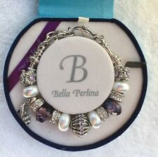 NIB Deluxe Bella Perlina Purple Silver Bracelet With Crystal High Heel Charm