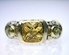 18K Yellow Gold/Sterling Silver 2.23 Carat Citrine and Peridot Ring. (B8224)