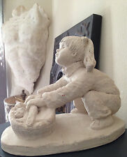 Vintage '83 Austin Prod Bright Eyes Dee Crowley Sculpture Girl w/ Basket Kittens