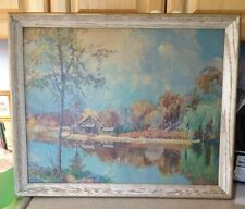 "Vintage Framed 16"" x20"" Landscape Print of Cabin on the Lake  by B. Cope"