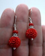 Exquisite Carved Red Cinnabar W. Red Coral Sterling Silver Earrings A0418