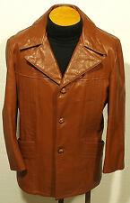 vintage 70's men's leather jacket coat fight club pimp rocker size 40-42 SHORT