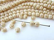 Vintage Japanese Beads Beige Pearl Tan Glass Baroque Rounds 6mm