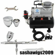 OPHIR 220V Air Tank Compressor w/ 0.5mm Dual Action Airbrush Kit for Model Paint