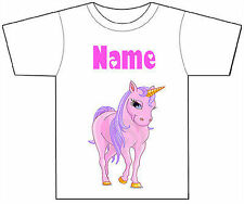 PERSONALISED PINK UNICORN HORSE T-SHIRT PRINTED WITH ANY CHILD'S NAME GIRL