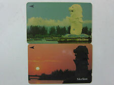 Used - 2 pcs - Merlion Singapore Telecom Phonecards