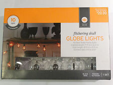 New! Target Halloween G50 Flicker Globe Lights Bulbs with Skulls - 10 ct Clear