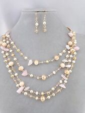 Layered Gold With Peach Pink Pearl Bead Necklace Set Fashion Jewelry NEW