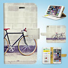 iPhone 6 6S Plus 5 5S 5C 4 4S Print Flip Wallet Case Cover Bicycles Art W153