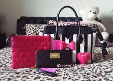 BETSEY JOHNSON Bag Wallet WRISTLET 3PC SET Black STRIPED Tote PINK Bow HEARTS