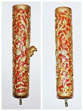 Pair Of Antique Chinese Red Gold Hand Carved Wood Relief Crane Floral Cylinders
