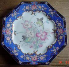Lovely Oriental Hexagan Shaped Plate Blue Showing Birds And Flowers