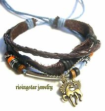 Men Cool Wild Mustang Horse Multi Strands Hemp Leather Surfer Bracelet Wristband