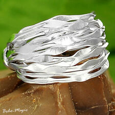Sterling Silver Ring 925 Genuine Wrap Wide Band Handmade Adjustable Size