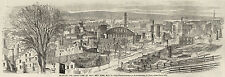 Troy New York NY Ruins 1862 Fire Disaster, Troy Union Station Antique Print