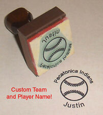 Baseball Rubber Stamp With Your Custom Team & Player