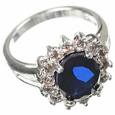 Silver Plated Ring with Blue Sapphire Stone Effect Centre Size G.5/6 NEW