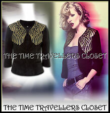 KATE MOSS TOPSHOP BLACK SUEDE BIKER JACKET ANGEL WING EMBELLISHED FEATHERS UK 8