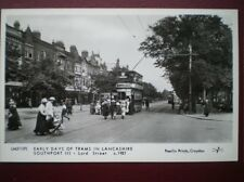POSTCARD LANCASHIRE SOUTHPORT LORD ST - TRAMS C1921