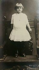 RPPC POSTCARD GIRL POSED ON ANTIQUE ARMCHAIR UNPOSTED 1907  REAL PHOTO EXCELLENT