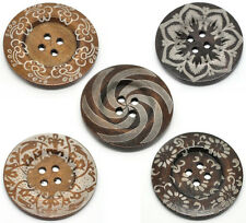 5 Extra Large 4 hole Wooden Sewing Buttons 60mm Sweaters, Overcoat FREE P&P