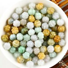 30pcs Natural Grade A Jade (Jadeite) Loose Pumpkin Bead Pendant 8x9mm Wholesale