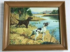 Vtg Paint By Numbers English Setter Hunting Dogs Near Water Lake & Hunter Framed