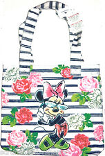 Disney Minnie Mouse Tote Bag Roses Floral Blue White Theme Parks New