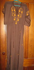 """Vintage Brown 70's BOHO Embroidered Caftan 56"""" Long Dress Maxi Hippy Size LG/XL"""