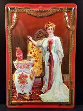 COCA COLA Victorian Lady Vintage Metal Wall Sign 3D Embossed ~COKE