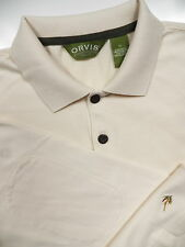 ORVIS MEN XL CASUAL POLO SWEATER BEIGE EMBROIDERED FISHING LURE LOGO ELBOW PATCH