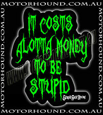 BN STICK MAN FAMILY STICKER DECAL IT COSTS IT COSTS ALOTTA MONEY TO BE STUPID