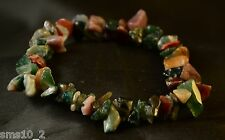 Dark Green Multi Colour  Natural Stone Chip Elasticated Bracelets