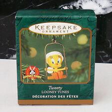 """Hallmark """"Tweety"""" 2000 Miniature Mini Ornament Looney Tunes Tweety Bird on Swing"""