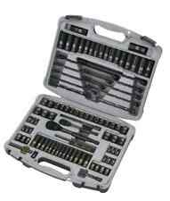 Socket Set 99-Piece Tools Ratchet Metric SAE Stanley Black Chrome Laser Etched