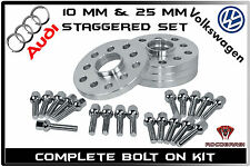 4 Pc Audi & VW Staggered Wheel Spacers 10 MM & 25 MM Thick 5x100 & 5x112 57.1 HB