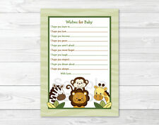 Jungle Animals Safari Friends Printable Baby Shower Wishes for Baby Advice Cards