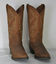 Justin Mens Brown Leather Cowboy 9.5D Western Boots Style 2551