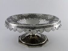 Large Antique Hand Chased Persian Solid Silver Sterling Tazza compote Bowl 613G