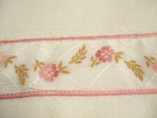 Hoja de algodón Francés Vintage con adorno de cinta bastante Bordado