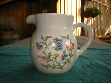 "WHITE CERAMIC PITCHER WITH FLOWER DESIGN~STANDS APPROX. 5 1/2"" TALL~NICE~L@@K~"